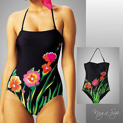 Badeanzug * Neckholder / Bandeau Gr.40  schwarz mit Floralmuster - NEU - (Floral Bandeau Badeanzug)