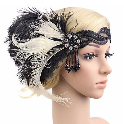 Damen Feder Stirnband Haarband Haargummi Indisch Kopfband Kopfschmuck - Schwarze Indische Kostüm