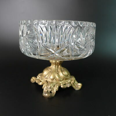 Vintage Pedestal Centerpiece Bowl Gold Base Cut Glass Compote Hobstar Loevsky