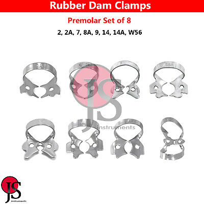 Set Of 8 Dental Rubber Dam Clamps Premolar Endodontic Clamps Tissue Retractor