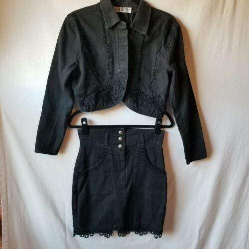 SWITCH USA 2 PC Vintage Jacket Skirt Set Black Denim Button Up Womens Size M