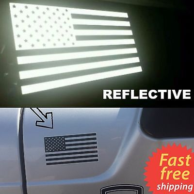 REFLECTIVE US American Flag Car Sticker Decal Patriotic, Auto, Bike, & Window (Flag Reflective Sticker)
