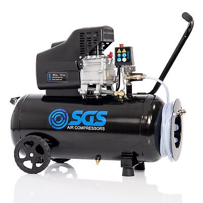 SGS 50 Litre Direct Drive Air Compressor With Integrated Hose Reel - 9.5CFM, 2.5
