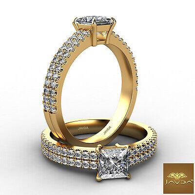 French U Pave Princess Shape Diamond Engagement Ring GIA Certified E VVS2 1.21Ct