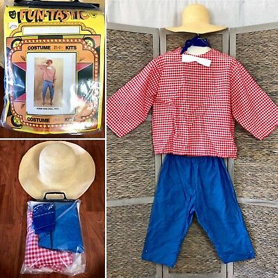 4 PC HILLBILLY COUNTRY BOY Costume NOS VTG 80s RAG DOLL MAN Top Pants STRAW HAT
