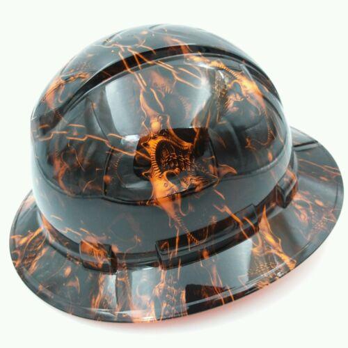 Hard Hat custom hydro dipped , FULL BRIM HELL RAISER SKULLS HI VIS ORANGE 1
