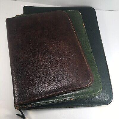Lot Of 3 Vintage Leather Writing Case Portfolio Stationary Letter Paper Folder