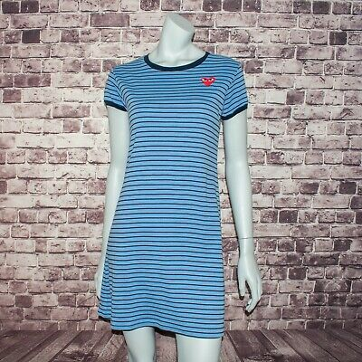 COMME des GARCONS PLAY Women's Crew Tee Shirt Dress Blue Striped Cotton (Comme Des Garcons Play Stripe Cotton Tee)