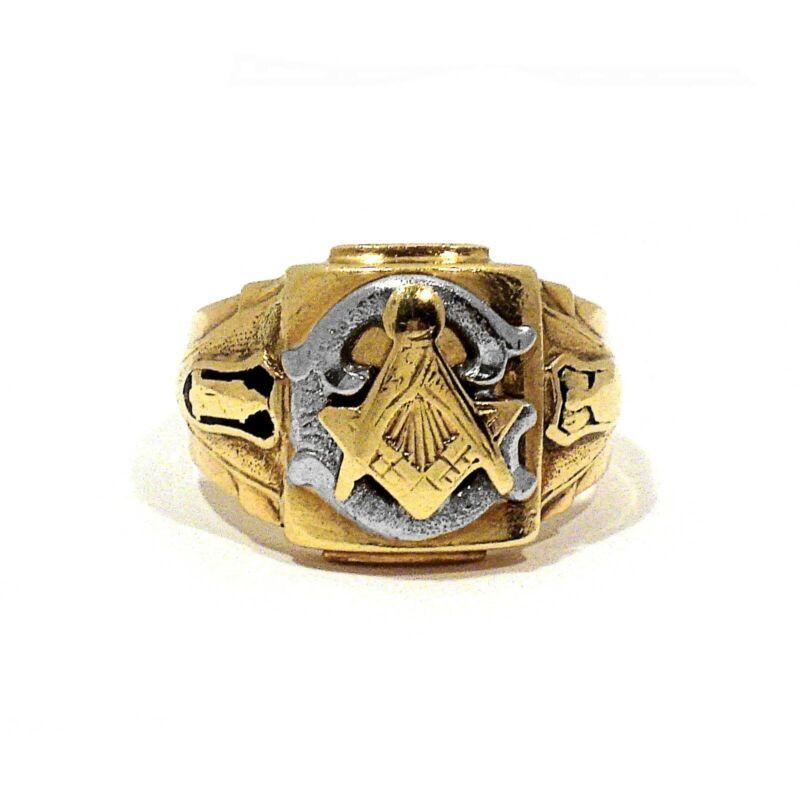 SOLID 10K YELLOW GOLD ENAMEL DECORATED MASONIC RING ~ SIZE 9 3/4
