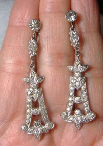 STUNNING LONG ART DECO FRENCH PASTE DANGLE EARRINGS