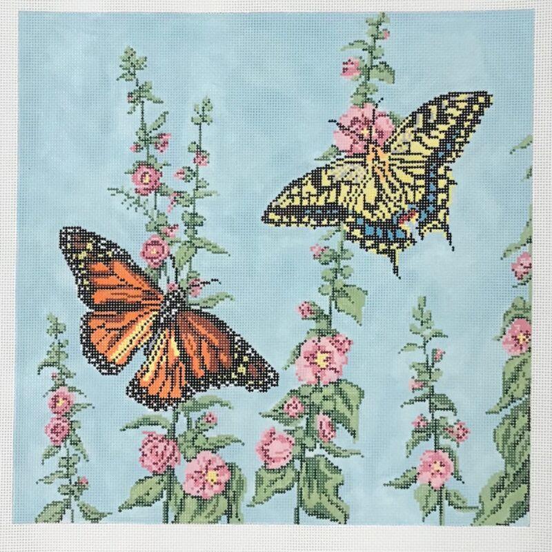 Needle Crossings Handpainted Needlepoint Canvas Butterflies Hollyhocks Monarch