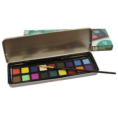 Art & Craft Watercolour Paint Tin Set of 18 Colours & 1 Brush