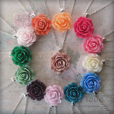 Carved Rose Pendant Necklace-Bridesmaid Flower girl Prom Party Dress. 30 Colours (Flower Girl Necklace)
