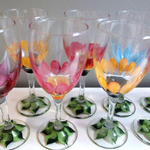 "Set 12 HAND PAINTED 7.5"" White Wine Stems Glasses Flowers Vines 10.25 oz."