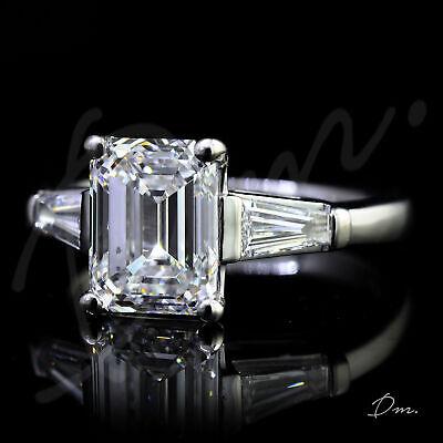 Gorgeous Natural 1.90 TCW Emerald 3-Stone Trapezoid Diamond Engagement Ring -GIA 1