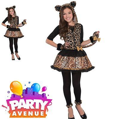 Teen Child Costume Girls Halloween Cat Fancy Dress (Leopard Spots Halloween)