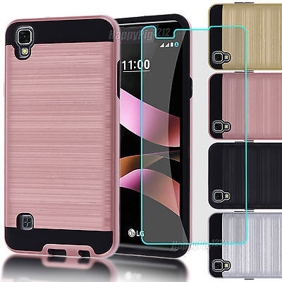 Hybrid Stand Case Cover+Glass Film Protector For LG Tribute HD /X STYLE (LS676 - Stand Protector Cover