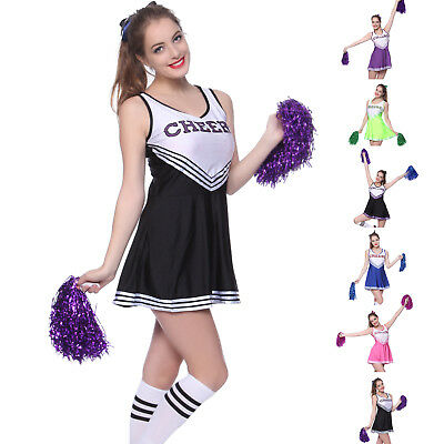 Ladies Girls Cheerleader Costume Sports School Uniform Fancy Dress Or Socks - Costume School Girl