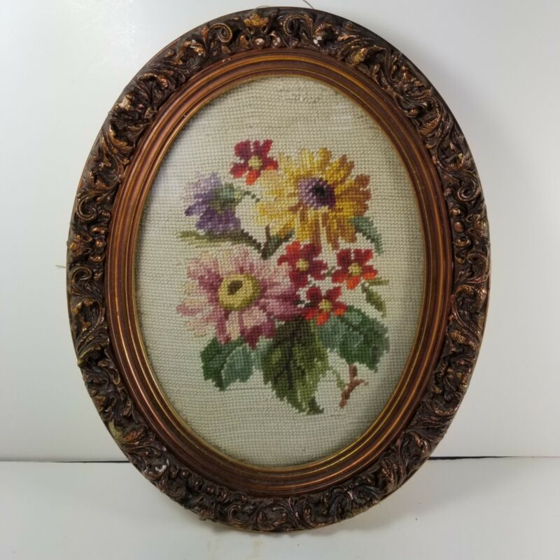 Vintage Needlepoint Floral Bouquet Springtime Beautiful Ornate Oval Frame