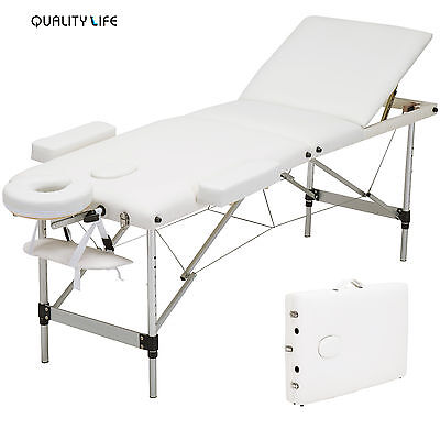 Aluminum 3 Foldable Massage Table Facial SPA Bed Tattoo White with Carry Case