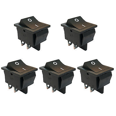 5 Pcs 4 Pin Dpst Onoff Mini Boat Car Rocker Switch Button 250v Black Us Stock