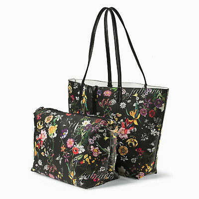 IMOSHION Black Floral Saffiano-Texture GIADA 2-pc Reversible 3-in-1 Tote and Bag