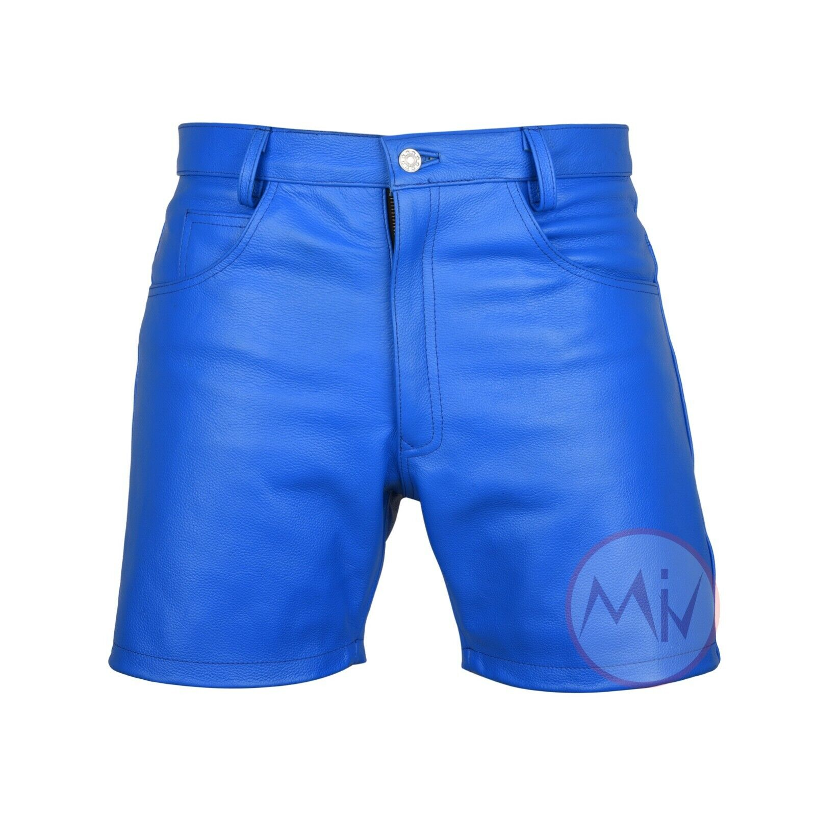 Men Genuine Leather Blue Casual Shorts Gym Running WorkOut A
