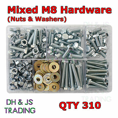 Assorted Box of Mixed M8 Hardware Set Screws Nuts & Flat Washers Qty 310