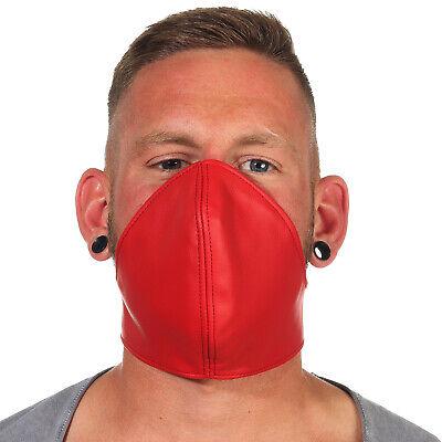 Rind Leder Mund Bedeckung WindSchutz Gesichtsmaske Steampunk Biker Maske Rot B