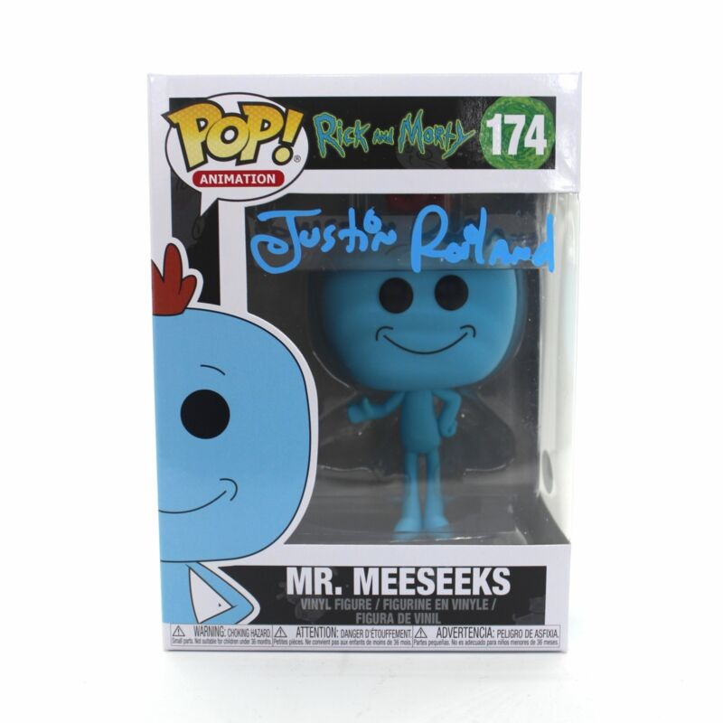 Justin Roiland Autograph Funko Pop Rick and Morty Mr. Meeseeks Signed JSA COA Z3