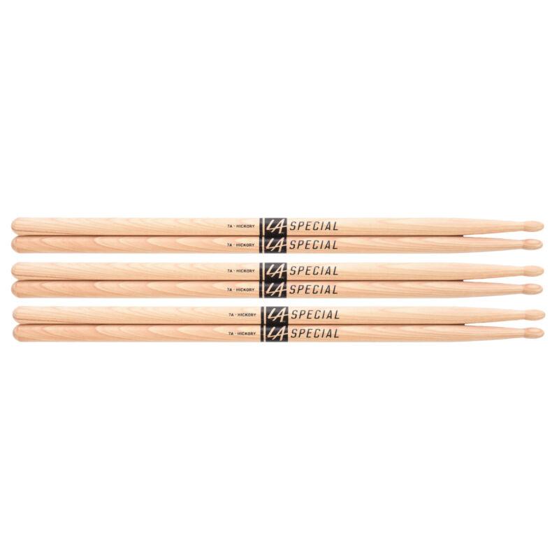 Promark LA Special 7A Wood Tip Drum Sticks (3 Pair Bundle)