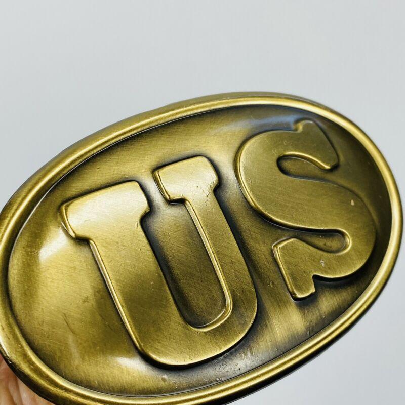 Civil War Union Army US Oval Belt Buckle Replica Vintage Brass-Finish Metal (E)