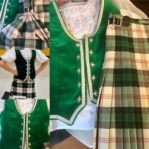 Highland Dance Kilt - Full Outfit- Blouse, Vest, Kilt & Shoes