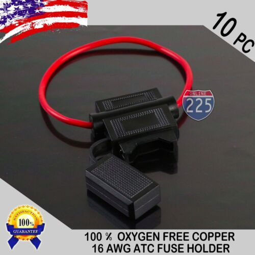 10 Pack 16 Gauge ATC In-Line Blade Fuse Holder 100% OFC Copper Wire Protection