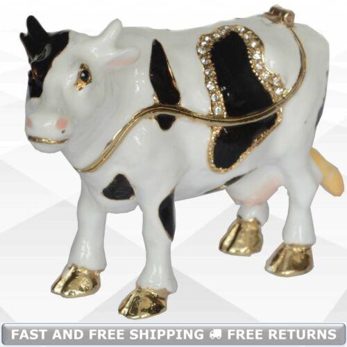 Cow Animal Small Pewter Enamel Hinged Jewelry Trinket Box Jeweled Crystals Decor