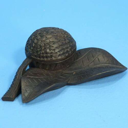 "6"" Antique Swiss Black Forest Wood Carved THIMBLE HOLDER Walnut & Leaf c1900"