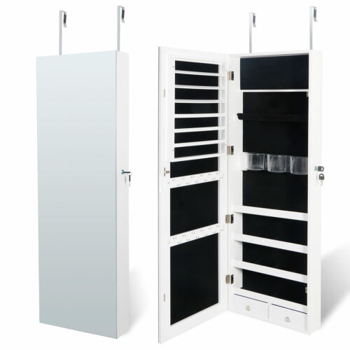 Jewelry Cabinet Jewelry Armoire Wall Door Mounted Jewelry Organizer Lockable Jewelry & Watches