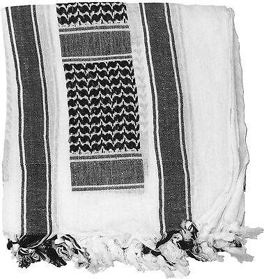 White & Black Shemagh Keffiyeh Arab Lightweight Desert Scarf
