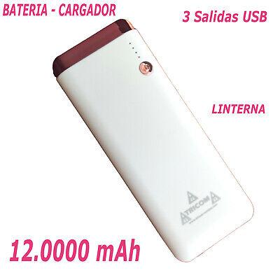 BATERIA EXTERNA Power Bank CARGADOR PORTATIL 12.000mAh con 3 SALIDAS USB