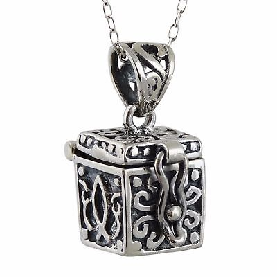 Prayer Box Charm Necklace 925 Sterling Silver Top Opens 8mm Love Faith Gift NEW ()
