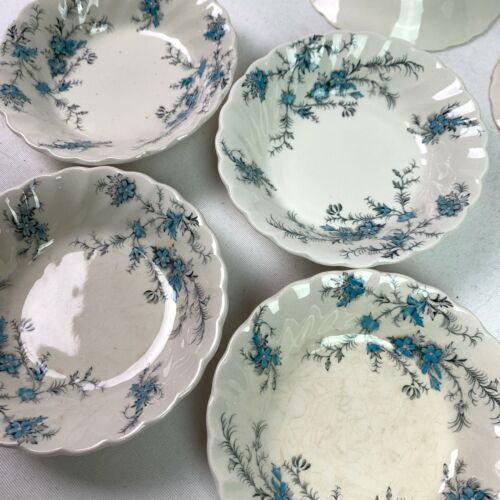 Myott Fine Staffordshire Blue Forget Me Not Set 7 Small Berry Dishes Antique