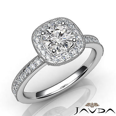 Bezel Pave Milgrain Set Halo Round Cut Diamond Engagement Ring GIA H SI1 1.23Ct