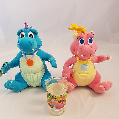 "Dragon Tales Cassie and Ord Plush 11"" Welchs Glass Cup 1999 Playskool Toys"