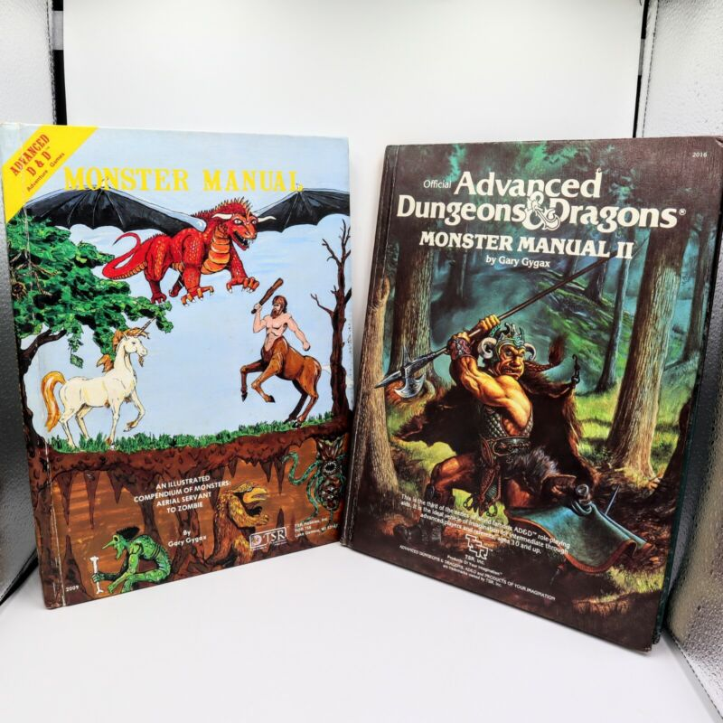 Advanced D&D Monster Manual I & II Gary Gygax Dungeons And Dragons 1979 & 1983