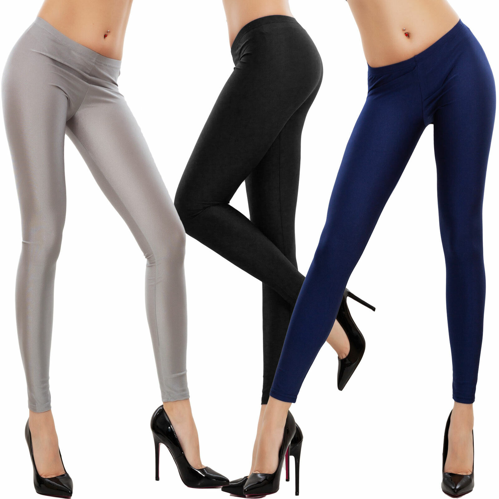 Leggings donna leggins semilucidi pantaloni colorati skinny basic TOOCOOL JL 239