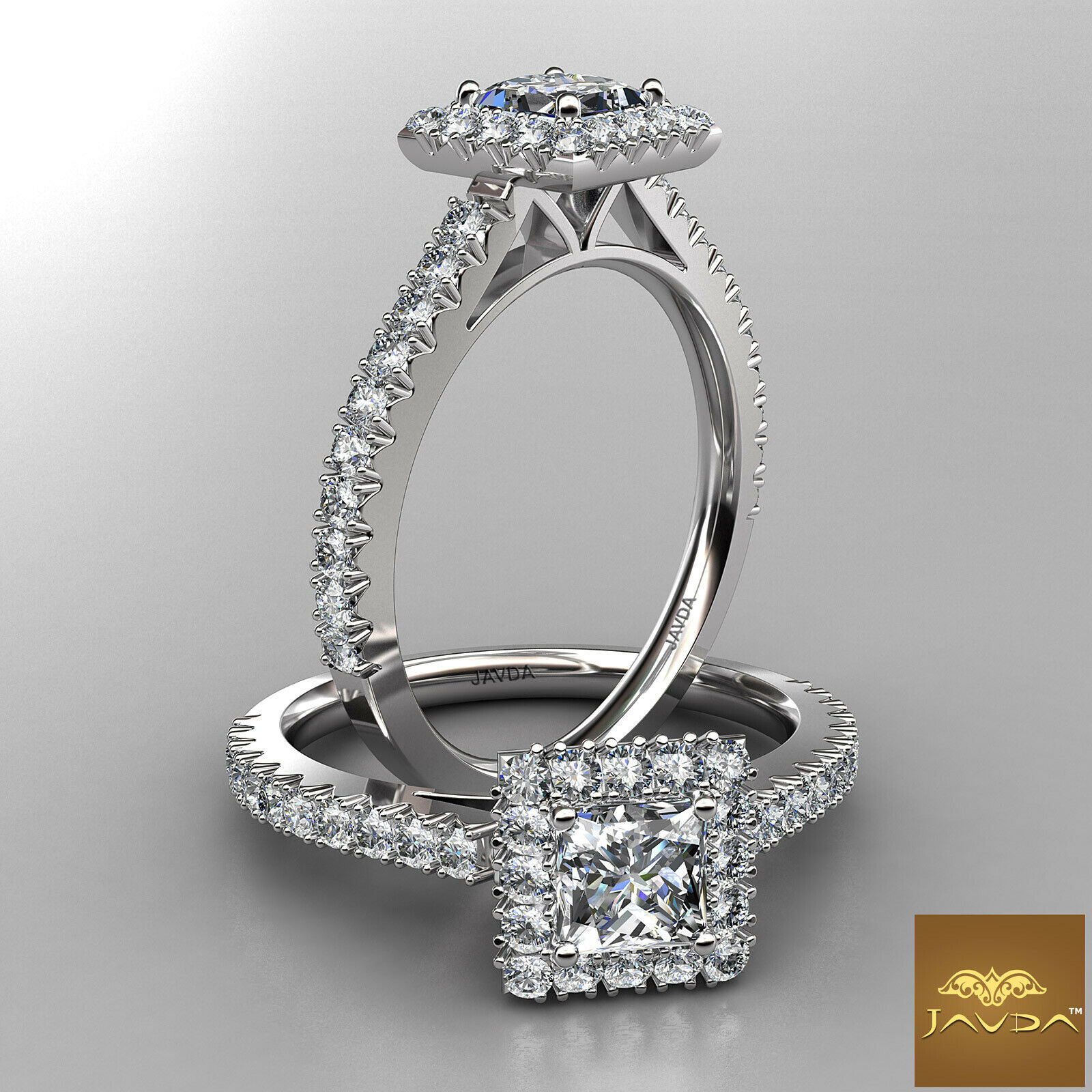 2.04ctw Halo French Pave Princess Diamond Engagement Ring GIA F-VS1 White Gold