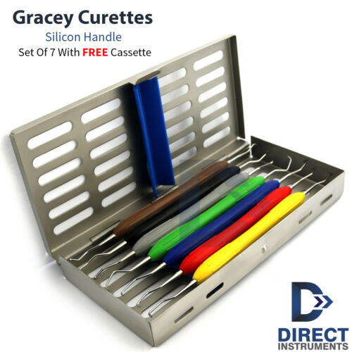 Dental Gracey Curettes Silicone Handle Periodontal Root Canal +7Pcs Cassette Box