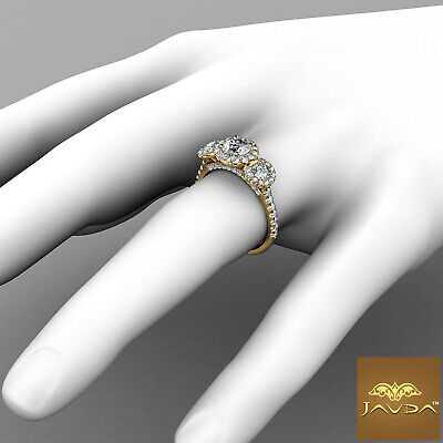 Halo 3 Stone Micro Pave Round Diamond  Engagement Ring GIA D VS2 Clarity 1.50Ct 7