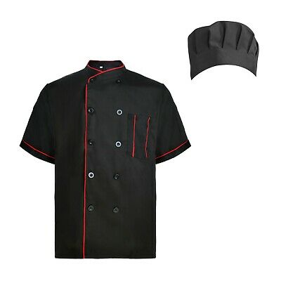 TopTie Short Sleeve Chef Coat Jacket Set with Hat Unisex Uniform Kitchen Cooking (Chefs Coat)