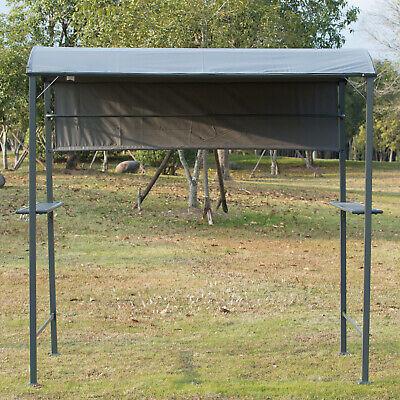 Outsunny Grillpavillon mit Flammschutzdach BBQ-Pavillon mit 2 Ablagen Polyester